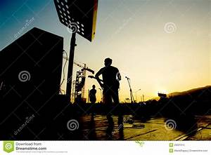 Silhouette Of Band On Stage Stock Photo - Image: 29001910