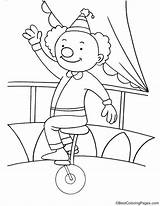 Unicycle Coloring Clown Riding Drawing Pages Getdrawings sketch template