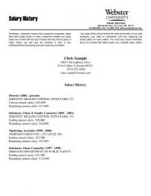 Salary Cover Letter Exle Resume Exles With Salary Histories Resume Template Exle