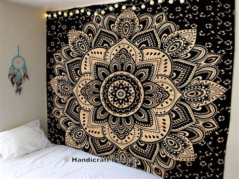 ombre indian mandala tapestry wall hanging hippie bohemian black gold king ebay