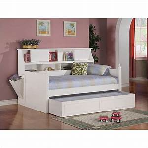 Daisy Bookcase Wood Daybed with Under-Bed Trundle in White
