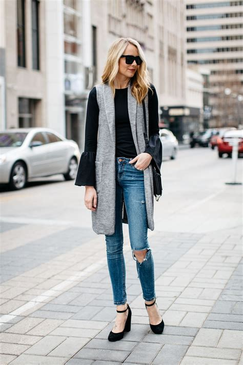 Fall Outfit Winter Outfit Long Grey Vest Black Bell