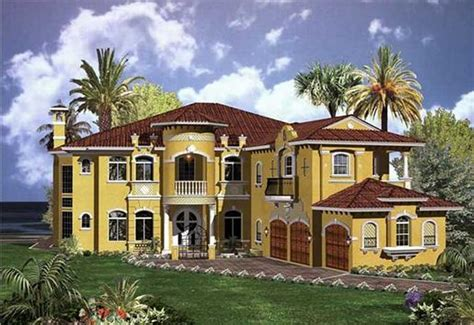 mediterranean home plans with yellow paint color ideas