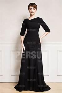 Robe Mi Longue Mariage : robe c r monie mariage noire col asym trique avec manche mi longue ~ Melissatoandfro.com Idées de Décoration