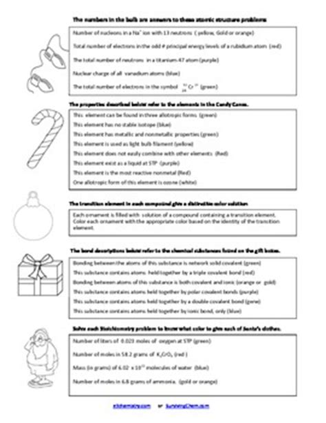 christmas chemistry review worksheet  coloring fun