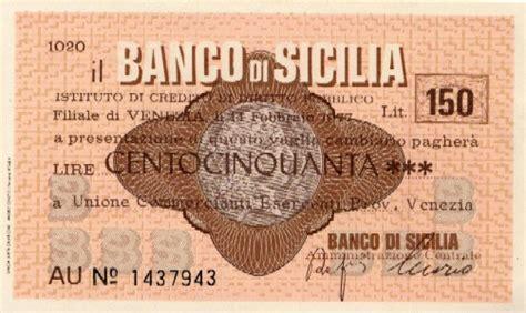 Banco Disicilia Banco Di Sicilia La Lira Banconote Monete E Miniassegni