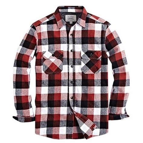 vancl mens flannel black white red plaid long sleeve