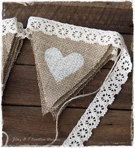 Burlap hessian crochet lace bunting country vintage shabby for Burlap and lace wedding decorations