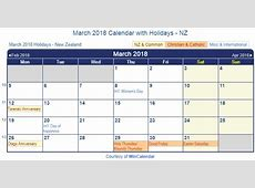 Print Friendly March 2018 New Zealand Calendar for printing