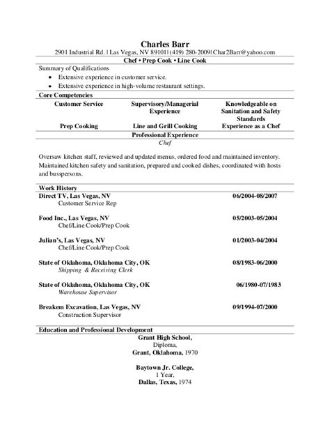 Line Cook Resume Exles by Line Cook Sle Resume