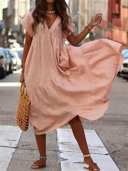 Neck Maxi Dresses Elegant Casual Short Loose