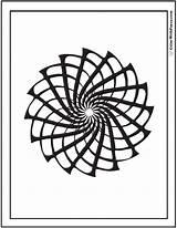 Coloring Geometric Patterns Spinning Designs Pinwheel Star sketch template