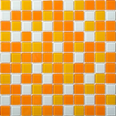 Penny Round Mosaic Tile by Glass Mosaic Tiles White And Orange Mixed Crystal Glass