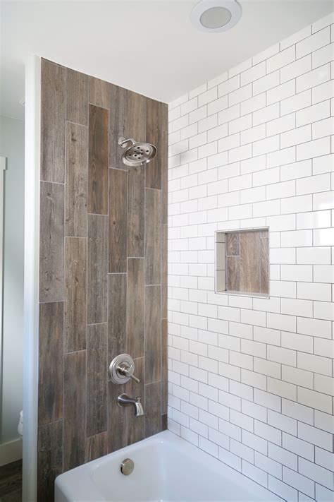 Wood Tiles In Bathroom by Farmhouse Bathroom Renovation Styled With Duk Liner