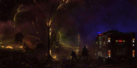 crash site town fire fire night plane accident hd wallpaper