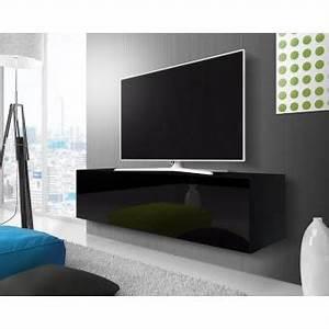 Meuble Tele Suspendu : point meuble tv suspendu 140 cm noir mat noir brillant achat prix fnac ~ Teatrodelosmanantiales.com Idées de Décoration