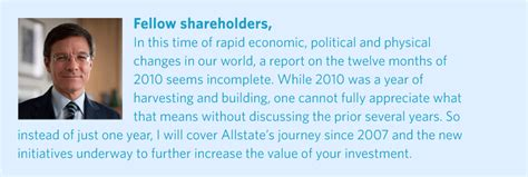 fellow investors cover letter allstate 2010 annual report letter to shareholders