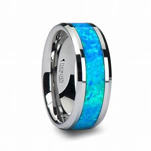 CAESAR Men39s Tungsten Wedding Band With Opal Inlay