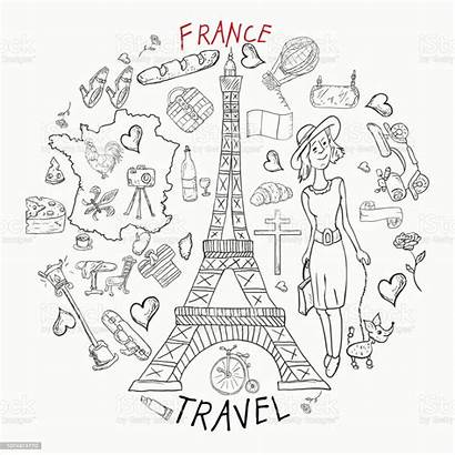 Europe France Country Coloring Drawings Travel Illustration