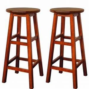 Tabouret Bar Bois : 2 tabourets de bar en bois d 39 acacia assise ronde achat vente tabouret de bar bois cdiscount ~ Teatrodelosmanantiales.com Idées de Décoration