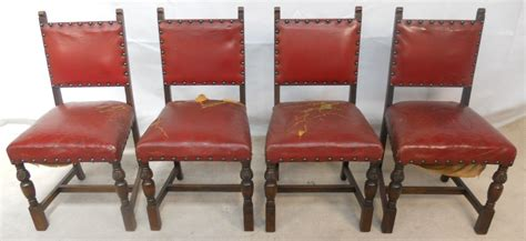 set   oak frame leather studded dining chairs sold