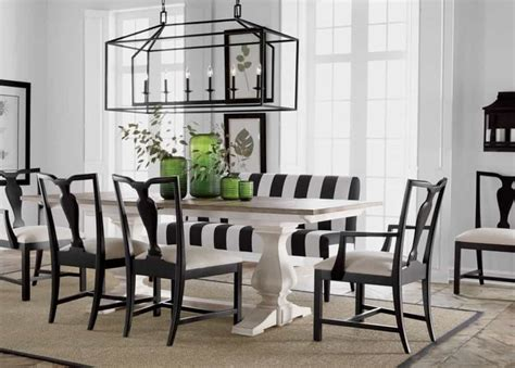 linear chandelier dining room dining room with striped bench and linear chandelier