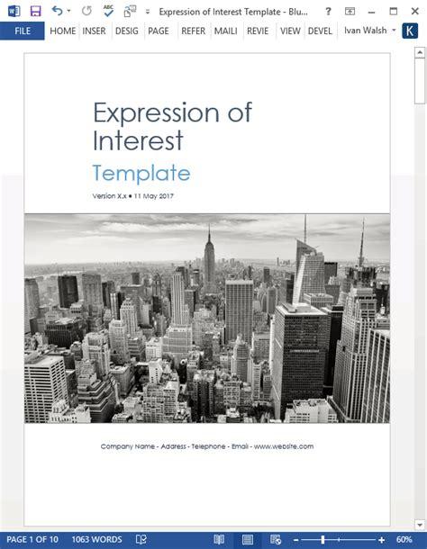 expression  interest eoi templates ms wordexcel