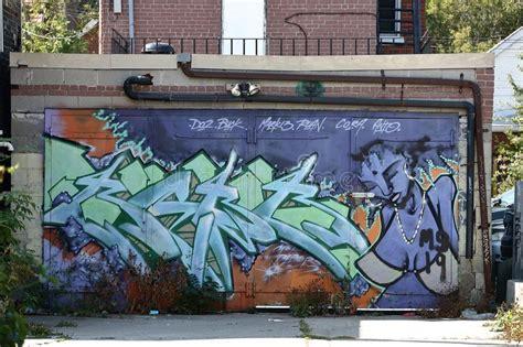 wall painting  toronto spadaina stock photo image