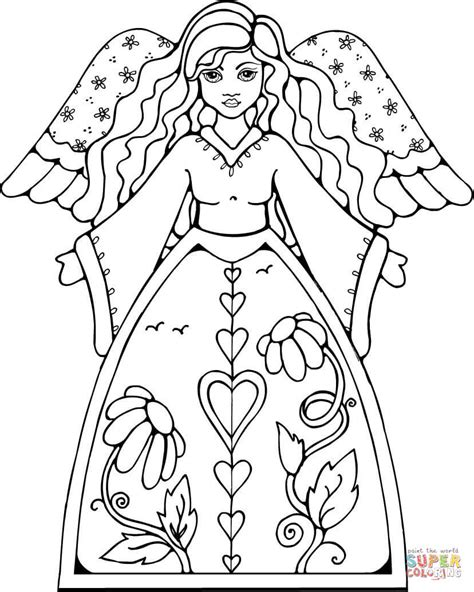beautiful angel coloring page  printable coloring pages