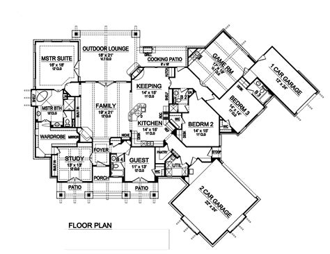 bedrm  sq ft ranch house plan