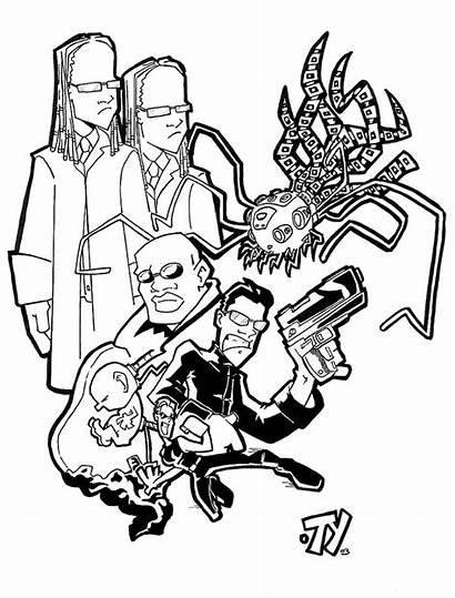 Matrix Reloaded Coloring Movies Bone Key Reeves