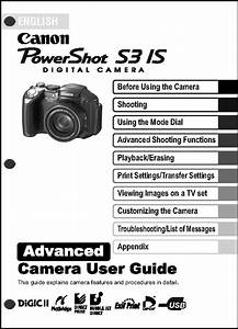 Canon Powershot S3 Is Digital Camera User Guide