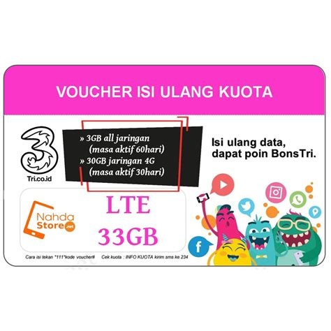 voucher tri kuota lte 33gb paket data tri 3 33gb shopee indonesia