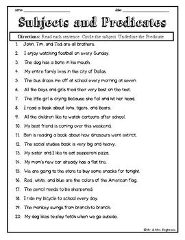 Subjects And Predicates In A Sentence By Mr And Mrs Brightside Tpt