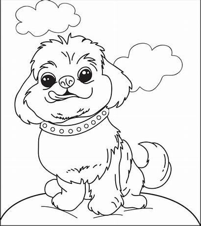 Coloring Dog Pages Puppy Fluffy Printable Dogs