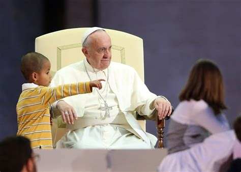 Little Boy Joins Pope Francis On Stage, Refuses To Leave