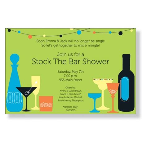 Stock The Bar Shower Stock The Bar Invitation Couples Wedding Shower Www