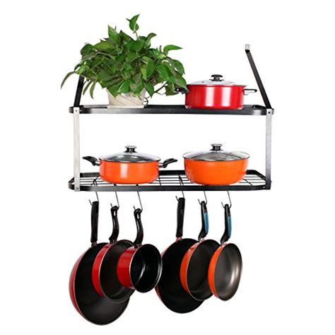 Hanging Pot Shelf by Best Wall Mounted Pot Rack With Shelf 2018