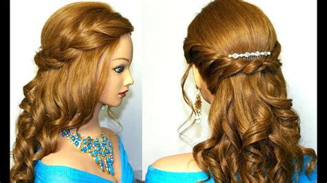 curly romantic prom hairstyle  medium long hair youtube