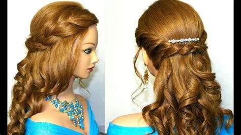 curly prom hairstyle  medium long hair tutorial youtube