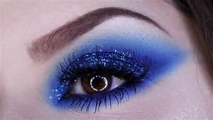Esfumado Alongado Azul Com Glitter