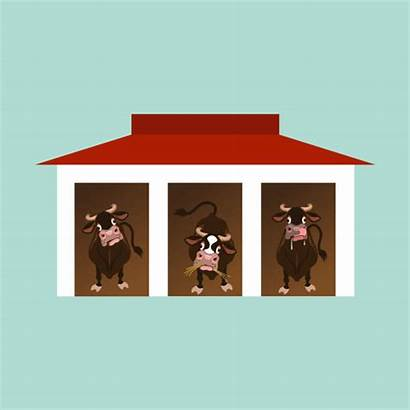 Barn Inside Cow Vector Cows Clip Funny