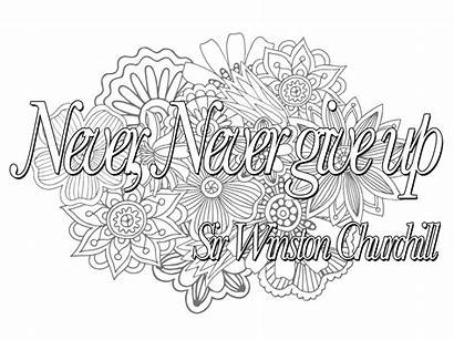 Quote Never Give Coloring Quotes Pages Churchill