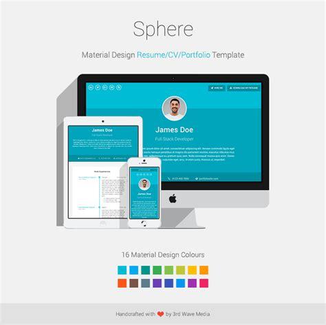 material design resume cv portfolio template sphere