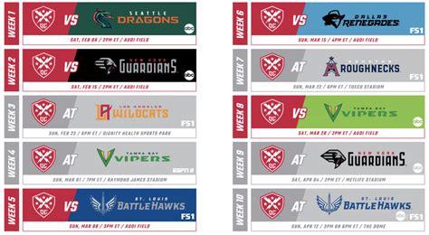 xfl  schedule preview dc defenders
