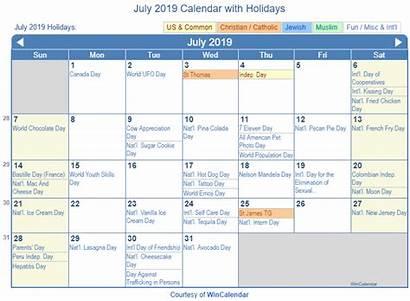 Calendar July Holidays Printable Holiday Wincalendar United