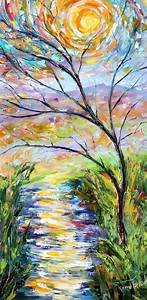 Original Oil Sunset Landscape palette knife painting ABSTRACT