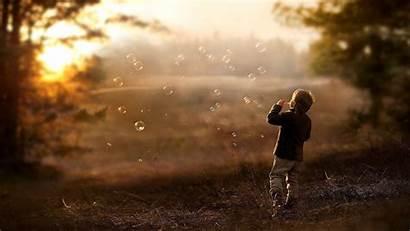 Children Nature Bubbles Field Depth Sunlight Sunset