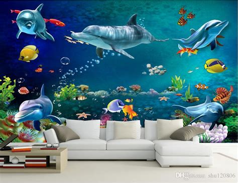 wallpaper custom photo mural sea world dolphin fish