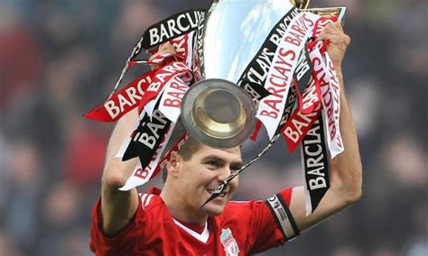 Steven Gerrard lifting the Premier League trophy: the ...
